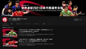 2021 世界卓球選手権大会(個人戦)日本代表選手選考合宿